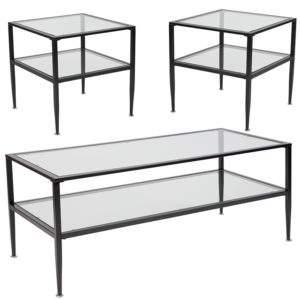 Wholesale Newport Collection 3 Piece Coffee and End Table Set with Glass Tops and Black Metal Frames