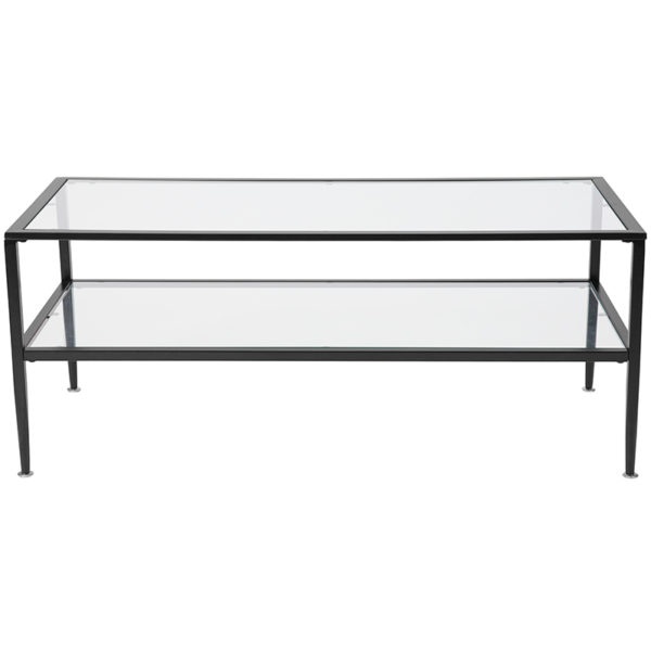 Lowest Price Newport Collection Glass Coffee Table with Black Metal Frame