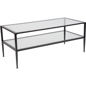 Wholesale Newport Collection Glass Coffee Table with Black Metal Frame
