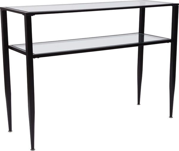 Wholesale Newport Collection Glass Console Table with Shelves and Black Metal Frame