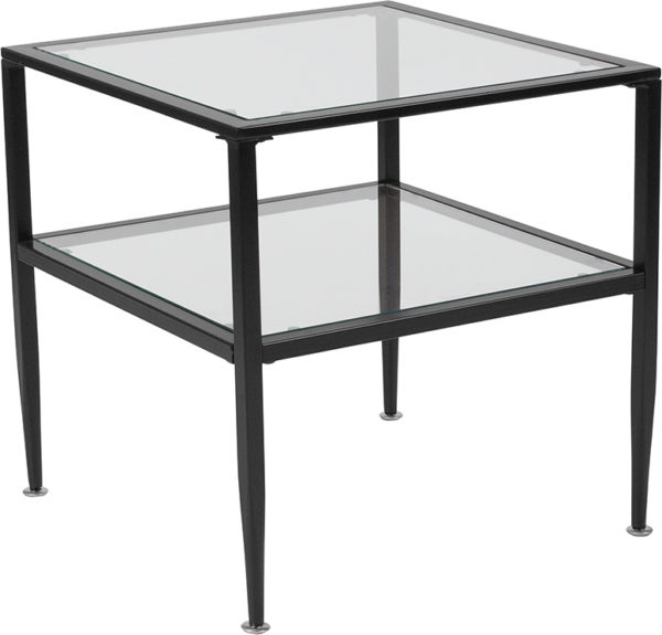 Wholesale Newport Collection Glass End Table with Black Metal Frame