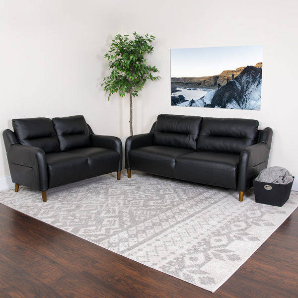 Lowest Price Newton Hill Upholstered Bustle Back Loveseat and Sofa Set in Black Leather