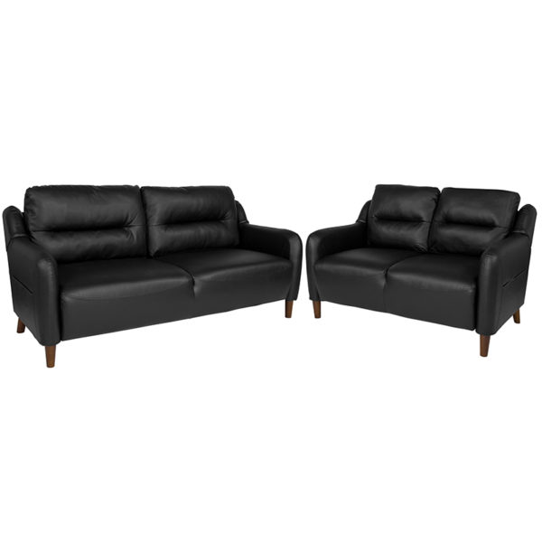 Wholesale Newton Hill Upholstered Bustle Back Loveseat and Sofa Set in Black Leather