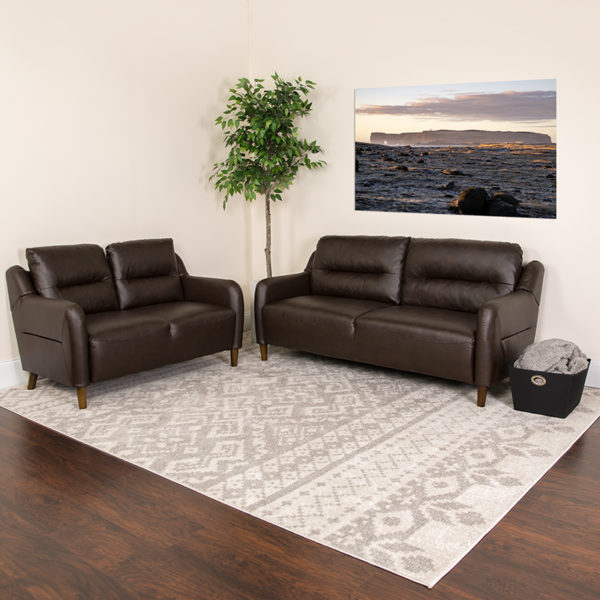 Lowest Price Newton Hill Upholstered Bustle Back Loveseat and Sofa Set in Brown Leather