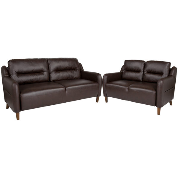 Wholesale Newton Hill Upholstered Bustle Back Loveseat and Sofa Set in Brown Leather