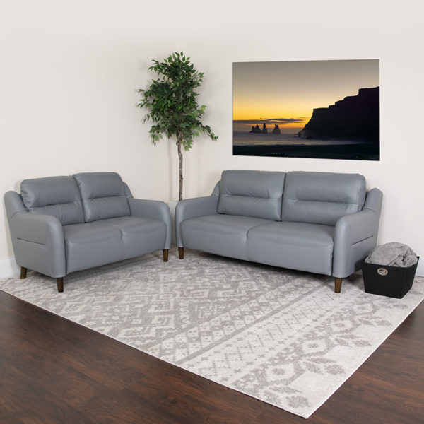 Lowest Price Newton Hill Upholstered Bustle Back Loveseat and Sofa Set in Gray Leather