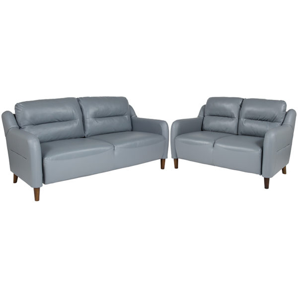 Wholesale Newton Hill Upholstered Bustle Back Loveseat and Sofa Set in Gray Leather