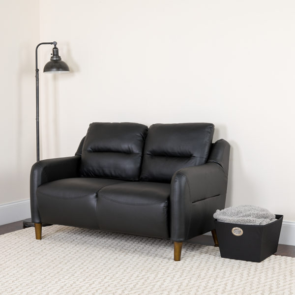 Lowest Price Newton Hill Upholstered Bustle Back Loveseat in Black Leather