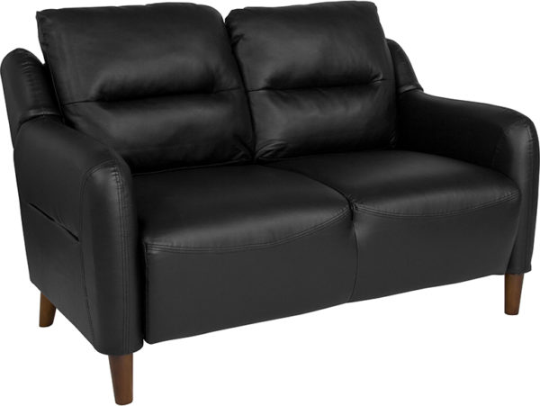 Wholesale Newton Hill Upholstered Bustle Back Loveseat in Black Leather