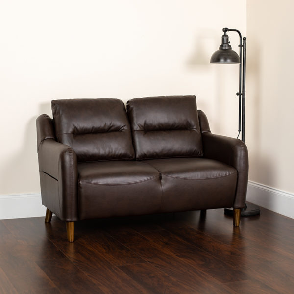 Lowest Price Newton Hill Upholstered Bustle Back Loveseat in Brown Leather