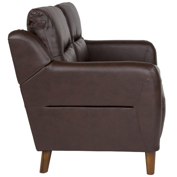 Contemporary Style Brown Leather Loveseat