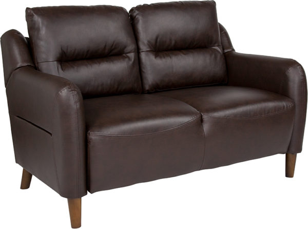 Wholesale Newton Hill Upholstered Bustle Back Loveseat in Brown Leather