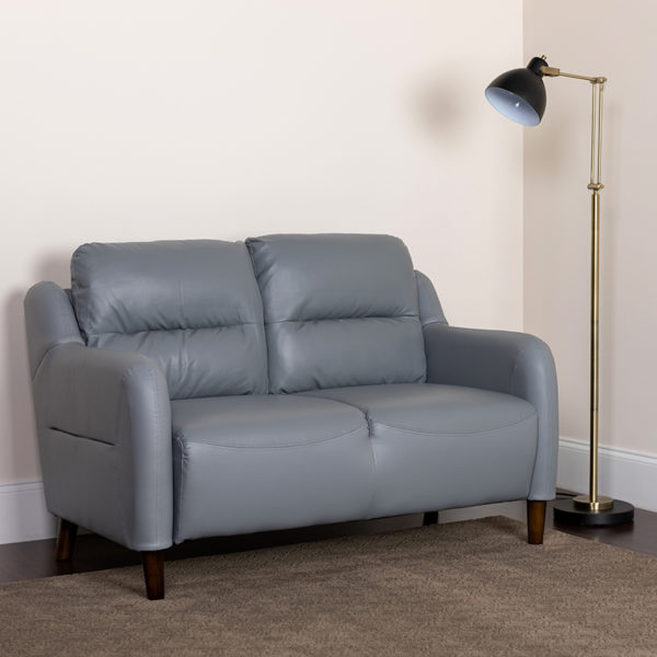 Lowest Price Newton Hill Upholstered Bustle Back Loveseat in Gray Leather