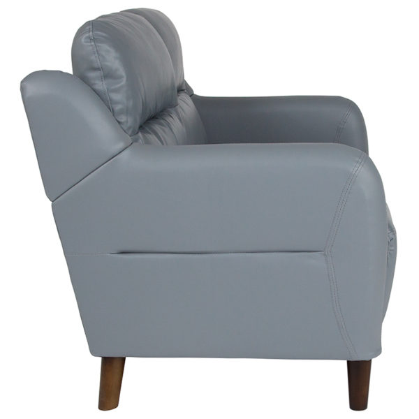 Contemporary Style Gray Leather Loveseat