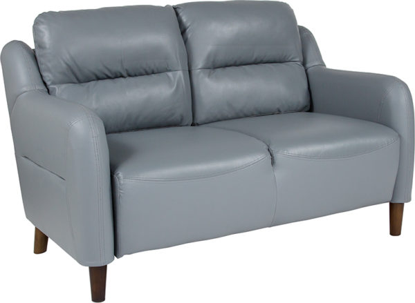 Wholesale Newton Hill Upholstered Bustle Back Loveseat in Gray Leather