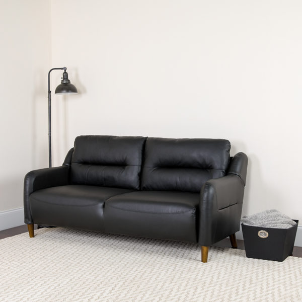 Lowest Price Newton Hill Upholstered Bustle Back Sofa in Black Leather