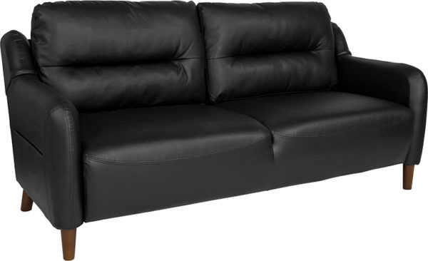 Wholesale Newton Hill Upholstered Bustle Back Sofa in Black Leather