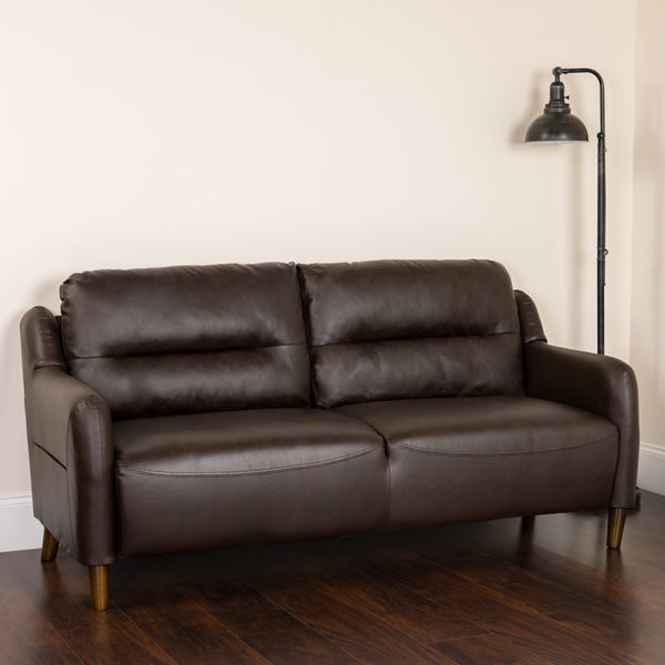 Lowest Price Newton Hill Upholstered Bustle Back Sofa in Brown Leather