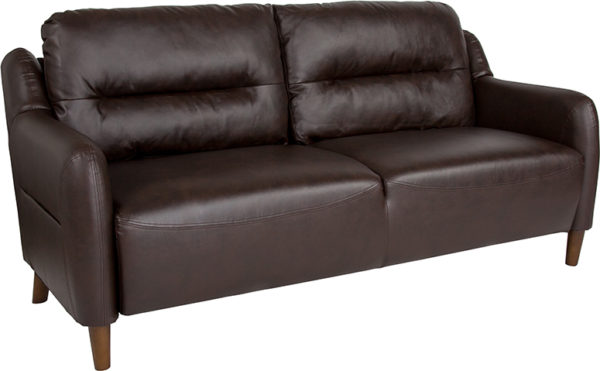 Wholesale Newton Hill Upholstered Bustle Back Sofa in Brown Leather