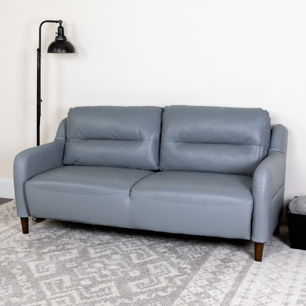 Lowest Price Newton Hill Upholstered Bustle Back Sofa in Gray Leather