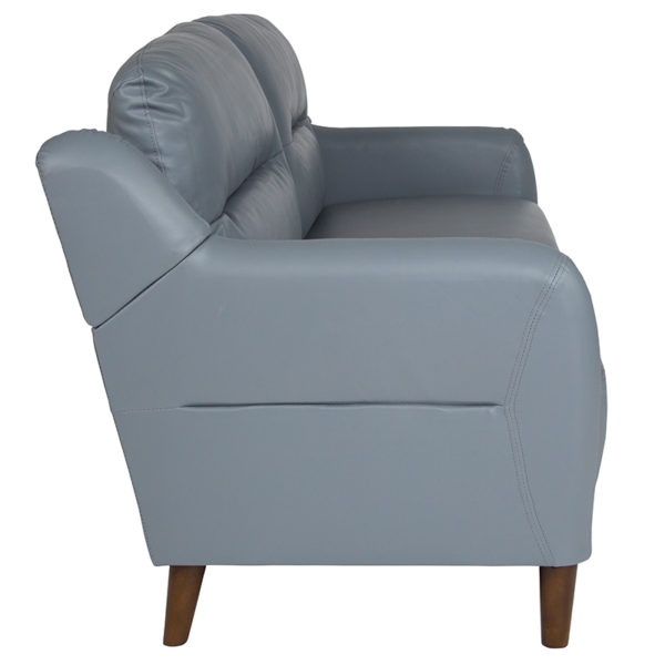 Contemporary Style Gray Leather Sofa