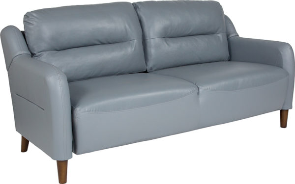 Wholesale Newton Hill Upholstered Bustle Back Sofa in Gray Leather