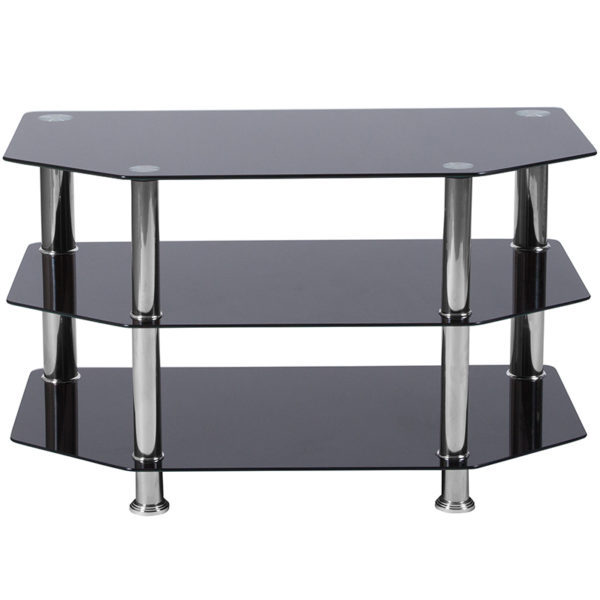 Lowest Price North Beach Black Glass TV Stand with Stainless Steel Metal Frame