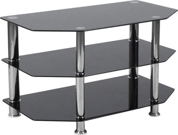 Wholesale North Beach Black Glass TV Stand with Stainless Steel Metal Frame
