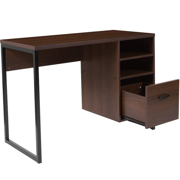 Lowest Price Northbrook Rustic Coffee Wood Grain Finish Computer Desk with Black Metal Frame