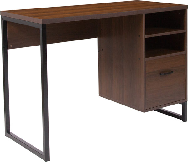 Wholesale Northbrook Rustic Coffee Wood Grain Finish Computer Desk with Black Metal Frame