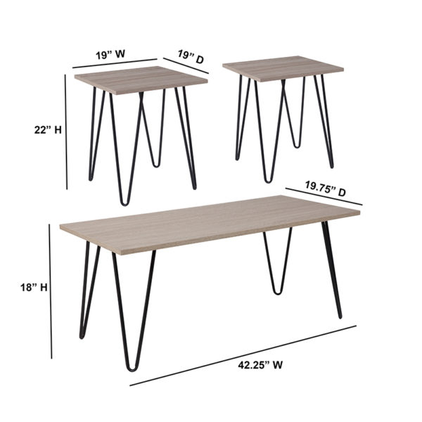 Lowest Price Oak Park Collection 3 Piece Coffee and End Table Set in Driftwood Wood Grain Finish and Black Metal Legs