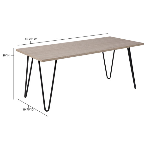 Lowest Price Oak Park Collection Driftwood Wood Grain Finish Coffee Table with Black Metal Legs