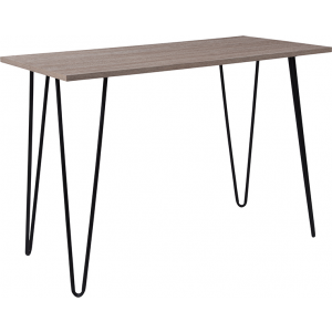Wholesale Oak Park Collection Driftwood Wood Grain Finish Console Table with Black Metal Legs