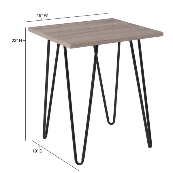 Lowest Price Oak Park Collection Driftwood Wood Grain Finish End Table with Black Metal Legs