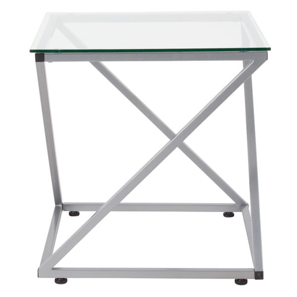 Lowest Price Park Avenue Collection Glass End Table with Contemporary Steel Design
