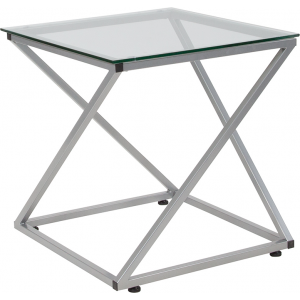 Wholesale Park Avenue Collection Glass End Table with Contemporary Steel Design