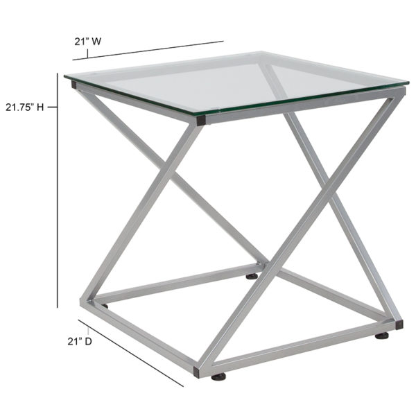 Contemporary Style Glass End Table
