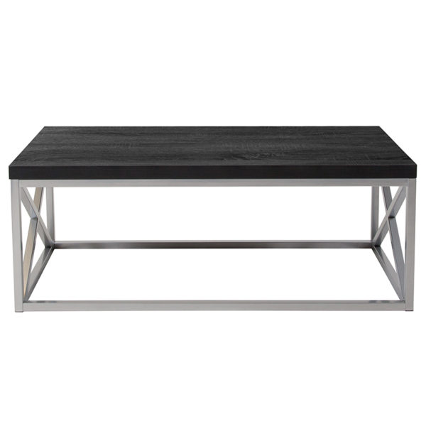 Lowest Price Park Ridge Black Coffee Table with Silver Finish Frame