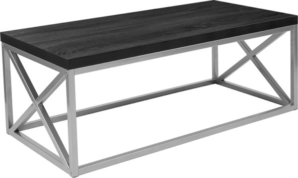 Wholesale Park Ridge Black Coffee Table with Silver Finish Frame