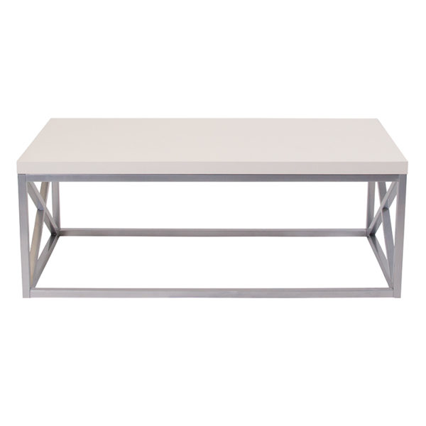 Lowest Price Park Ridge Cream Coffee Table with Silver Finish Frame