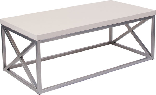Wholesale Park Ridge Cream Coffee Table with Silver Finish Frame
