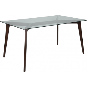 "Wholesale Parkside 35.25"" x 59"" Rectangular Solid Espresso Wood Table with Clear Glass Top"
