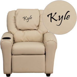 Wholesale Personalized Beige Vinyl Kids Recliner with Cup Holder and Headrest