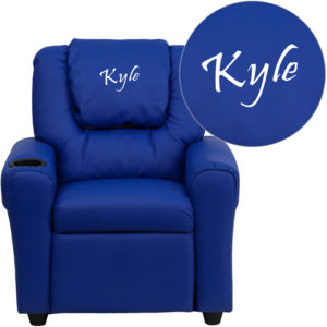Wholesale Personalized Blue Vinyl Kids Recliner with Cup Holder and Headrest