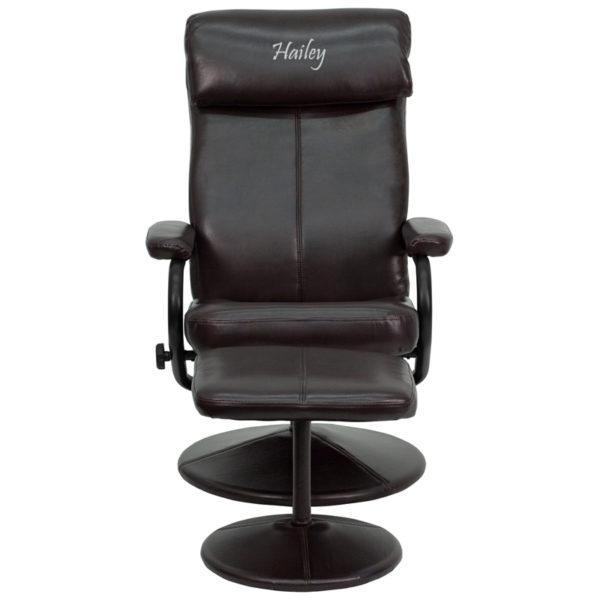 Wholesale Personalized Contemporary Multi-Position Headrest Recliner and Ottoman with Wrapped Base in Brown Leather