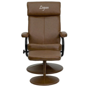 Wholesale Personalized Contemporary Multi-Position Headrest Recliner and Ottoman with Wrapped Base in Palimino Leather
