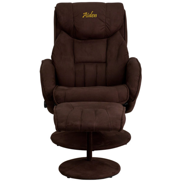Wholesale Personalized Contemporary Multi-Position Recliner and Ottoman with Circular Wrapped Base in Brown Microfiber