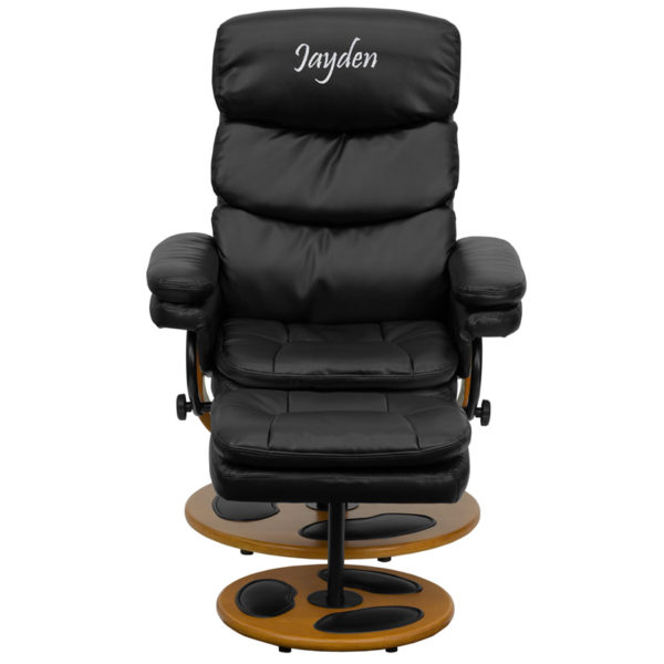 Wholesale Personalized Contemporary Multi-Position Recliner and Ottoman with Wood Base in Black Leather