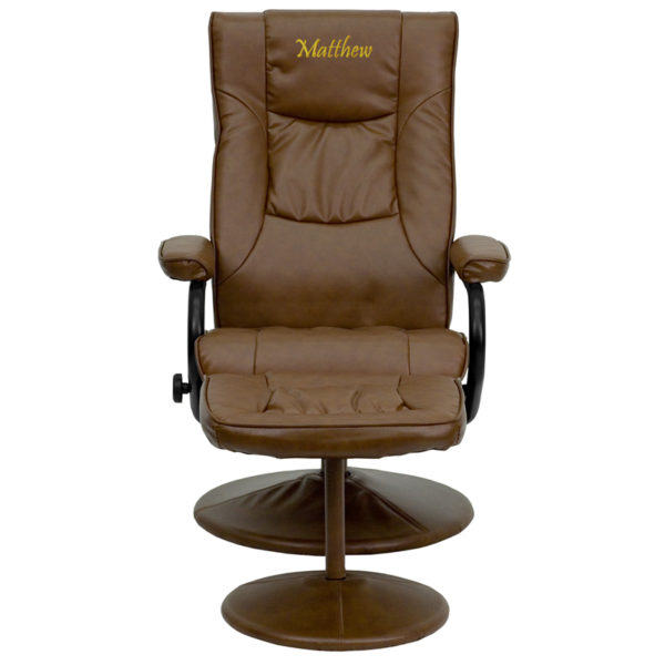 Wholesale Personalized Contemporary Multi-Position Recliner and Ottoman with Wrapped Base in Palimino Leather