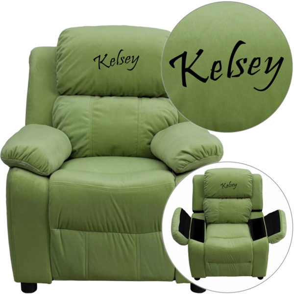 Wholesale Personalized Deluxe Padded Avocado Microfiber Kids Recliner with Storage Arms